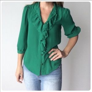 Silky green Anthropology blouse